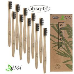 10 Pack Bamboo Toothbrush 100% Natural and Organic Soft Bris