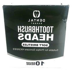 10 Pack Dental Expert Toothbrush Heads Soft Bristle For Soni