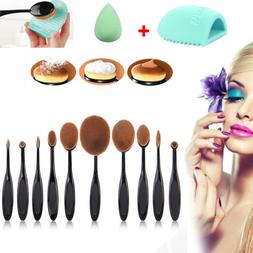 10Pcs Makeup Brushes Set Oval Cream Puff Toothbrush + Brush