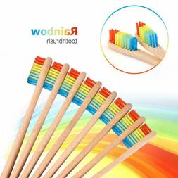 10X Medium-Bristle Bamboo Toothbrush Rainbow Wood Teeth Brus