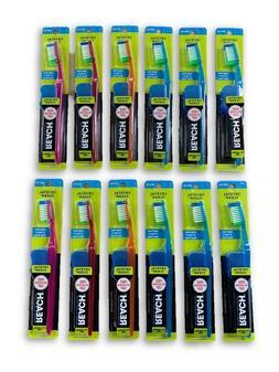 6 Reach Toothbrush Extra Clean MEDIUM Bristles Hard With Cap