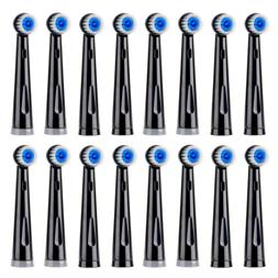 Fairywill 16pcs Soft Bristles Black Electric Toothbrush Head