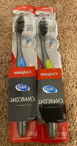 2 Colgate 360 Charcoal Infused soft Bristles multi color Too
