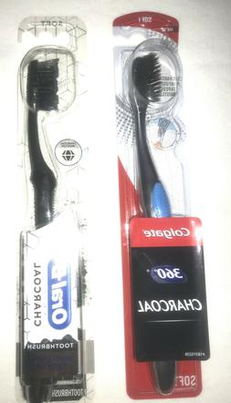 2 Charcoal Toothbrushes Oral-B & Colgate Both Are Soft Brist