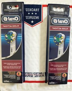 2 PACK = 6 PCS = 13.99 Oral-B Floss Action Toothbrush heads