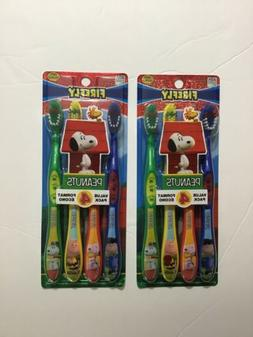 2 pack 8 pc kids peanuts toothbrushes
