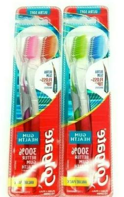 2 TWIN PACK COLGATE ULTRA SOFT ULTRA SLIM FLOSS TIP TOOTHBRU