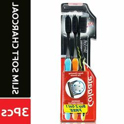 3 BRUSHES PACK OF COLGATE SLIM SOFT CHARCOAL INFUSED BRISTLE