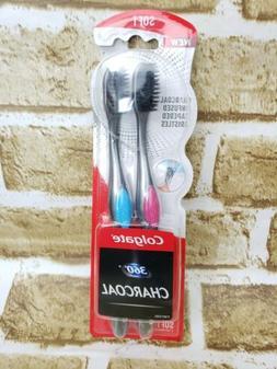Colgate 360 Charcoal Toothbrush Slimmer Tip Soft Bristles -