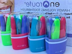 4 Pack Folding Soft Toothbrush with Travel Case - Compact Mi