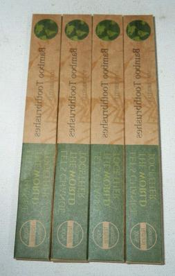 4 pack lot BAMBOO ESSENTIALS BAMBOO TOOTHBRUSHES 100% NATURA