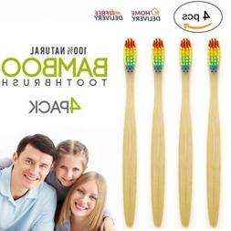 4 PACK Natural Bamboo Toothbrush - Eco Friendly-BPA Free-Med