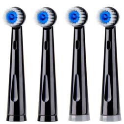 4pcs soft bristles black electric toothbrush heads
