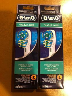 6 BRAUN ORAL B DUAL CLEAN TOOTHBRUSH REPLACEMENT BRUSH HEADS