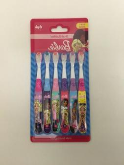 6 PACK BARBIE KIDS SOFT TOOTHBRUSHES ASSORTED COLORS PACK