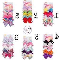 JOJO SIWA 6 Pcs/Set Rainbow Printed Knot Ribbon Bow For Girl