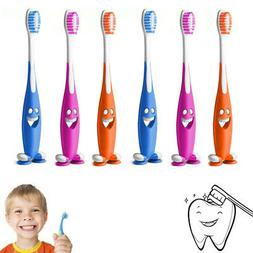 6 Smiley Happy Toothbrush Suction Cup Stand Soft Bristles Ki