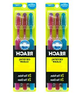 6 Reach Toothbrush Extra Clean FIRM Bristles Hard - FREE SHI