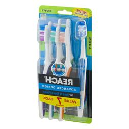 REACH 7-PACK ADVANCED DESIGN TOOTHBRUSHES SOFT BRISTLES for
