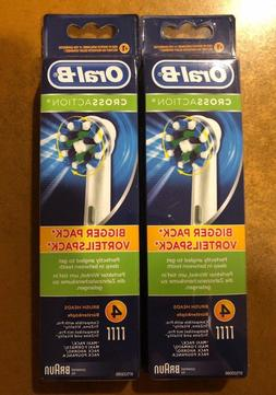 8 BRAUN ORAL B CROSS ACTION TOOTHBRUSH REPLACEMENTS BRUSH HE