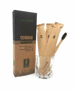 8 Pk Bamboo Toothbrushes Soft  Biodegradable Compostable BPA