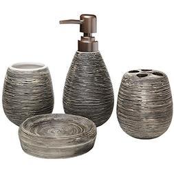 MyGift 4 Pc Line Textured Dark Brown Ceramic Soap Dish, Soap