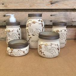 Rustic Ivory and Bronze Mason Jar Bathroom Set or Office Des