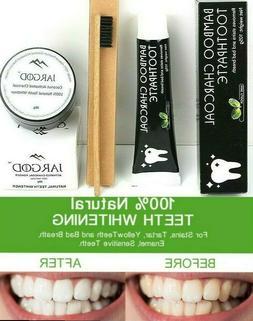 Charcoal Teeth Whitening Powder+Toothpaste+TBrush -Detoxify-
