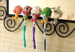 HJH® 5pcs Animal Antibacterial Toothbrush Holders Suction C