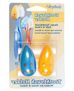 Smiley Set of 2 Antimicrobial Toothbrush Holders, Blue and Y