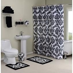12 Piece Aqua Blue Shower Curtain, Rug, Towel Set, Damask Fl