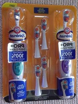 ARM & HAMMER 2 Spinbrush Battery Powered Toothbrushes w/ 4 R