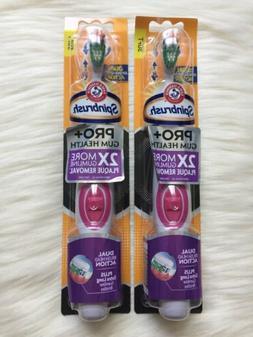 ARM & HAMMER Spinbrush Lot of 2 Toothbrush Pro+Gum Health Ne