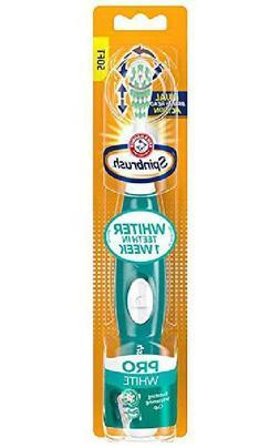 Arm Hammer Spinbrush Pro Series White Battery Toothbrush Med