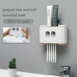 Auto Squeezing Toothpaste Dispenser Toothbrush Holder Set Ho