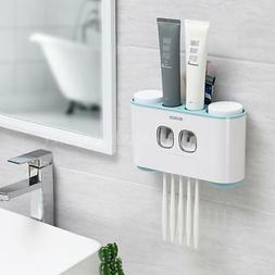 Automatic Toothpaste Dispenser + 4 Toothbrush Holder Set Wal