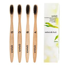 Bamboo Charcoal Toothbrush Set of 4 Premium Biodegradable To