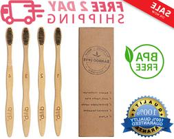 Bamboo Charcoal Toothbrush with Medium Soft BPA Free Bristle