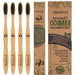 Bamboo Toothbrush Natural Eco-Friendly Charcoal Pack of 4, B