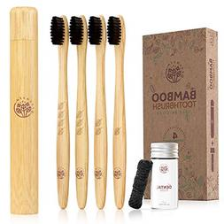 Greenzla Bamboo Toothbrush Set w/Travel Toothbrush Case & Ch
