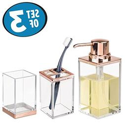 mDesign Bathroom Accessory Set, Soap Dispenser Pump, Toothbr