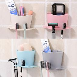 Bathroom Toothbrush Toothpaste Wall Mount Holder Sucker Suct
