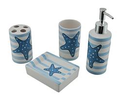 Zeckos Ceramic Bathroom Accessory Sets Blue And White Stripe