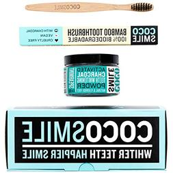 Activated Charcoal Teeth Whitening Powder With Bamboo Toothb