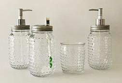 Hobnail Clear Glass 4 Piece Design Bath Accessory Set | 24 o