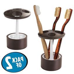 mDesign Decorative Bamboo Wood Toothbrush Holder Organizer S
