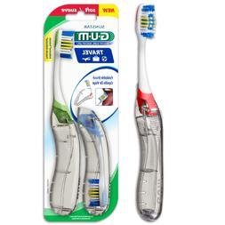 G-U-M Folding Travel Toothbrush, Soft, Assorted, 2 ea