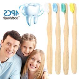 Four-color Manual Bamboo Toothbrush~Medium Bristle Bio-Degra