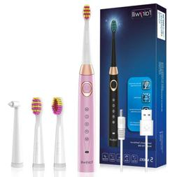 Fairywill Pink Sonic Electric Toothbrush 5 Modes Rechargeabl