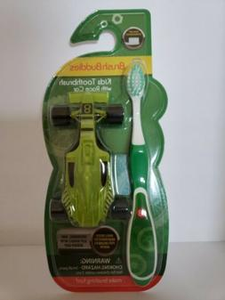 BRUSH BUDDIES KIDS TOOTHBRUSH WITH RACE CAR GREEN ULTRA SOFT